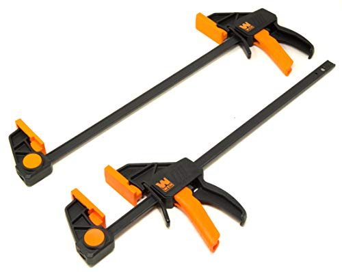 WEN CLR122 12-Inch Heavy Duty Steel Bar Clamps and Spreaders with 2.3-Inch Throat, Two Pack