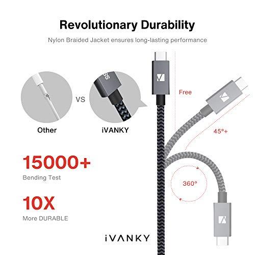 iVANKY USB C auf USB C Kabel 2M, USB 3.2 Gen2×2 Typ C Ladekabel, 100W 20V/5A Power Delivery Schnellladekabel, 4K@60Hz Videoausgang, 20Gbps Datenübertragung, USB C Datenkabel für USB C Geräte