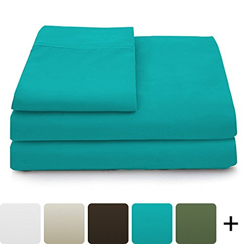 Cosy House Collection Luxury Bamboo Sheets - 5 Piece Bedding Set - High Blend from Natural Bamboo Fiber - Soft Wrinkle Free Fabric - 2 Fitted Sheets, 1 Flat, 2 Pillow Cases - Split King, Turquoise