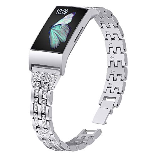 Joyozy Slim Bling Bands Compatible with Fitbit Charge 4/Fitbit Charge 3/Fitbit Charge 3 SE Smartwatch,Rhinestone Dressy Bracelet Replacement for Wristbands Accessories Jewelry Strap Women Girl(Silver)