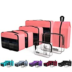【7 pieces a set】4 packing cubes +1 shoe bag +1 toiletry bag +1 TSA approved toiletry bag= Valuable & Practical. 7 choices to meet all your travel needs. 【Tidy your Clothes & Shoes】Travel cubes divide your clothes into sections, diffrent cubes for eac...