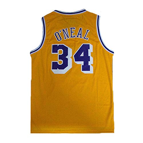 Men's O'Neal Jersey Sports #34 Jerseys Shaquille Basketball Yellow Jersey(S-XXL) (S)