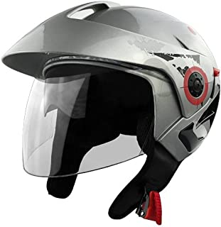 3/4 Open Face, DOT Approved Silver Motorcycle Helmet With Clear Face Shield & Retractable Sun Visor - Adult X-Large