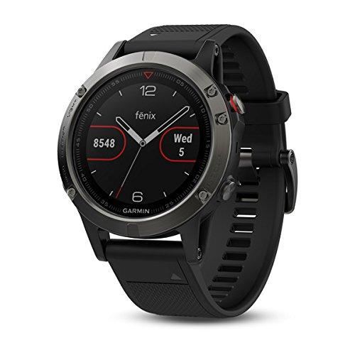 Garmin fēnix 5, Premium and Rugged Multisport GPS Smartwatch, Black with Black Band (Renewed)
