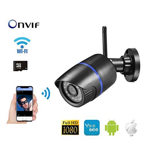 WJ Yoosee APP 1080P IP-Kamera, 2,8-mm-Objektiv Home Security wasserdichte Kamera, Mikrofon Audio Night Vision vandalensichere SD-Karte Überwachung im Freien,1080P2.8mm