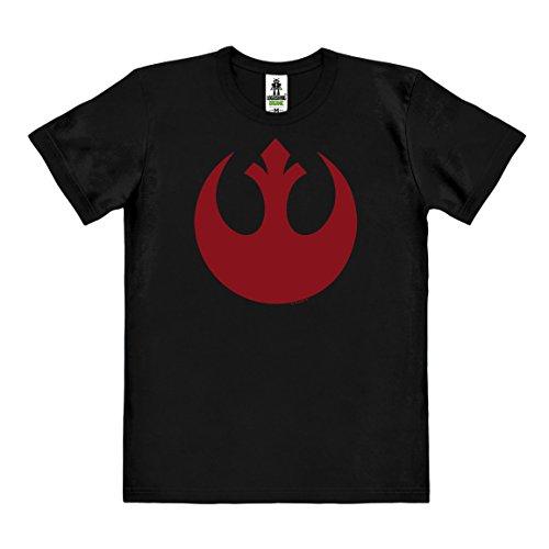 Logoshirt Star Wars - Rogue One - Alianza Rebelde Logo Camiseta 100% algodón ecológico (Cultivo ecológico) - Negro - Diseño Original con Licencia, Talla XXL