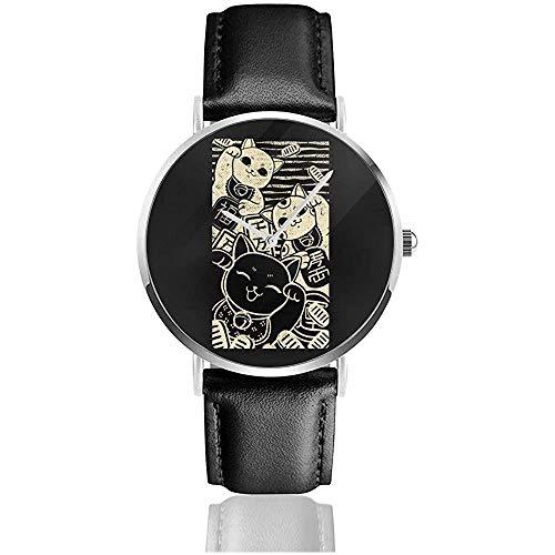 Wish Me Luck Relojes Maneki Neko Reloj de Cuero de Cuarzo con Correa de Cuero Negra para Regalo de colección