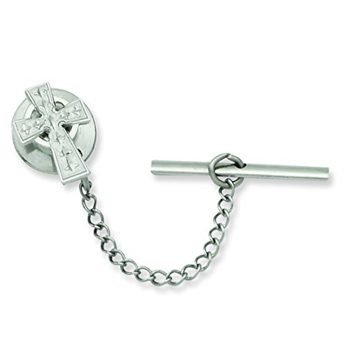 Jewelry Pot Rhodium Plated Stainless Steel Celtic Cross Tie Tack. Lovely Leatherrete Gift Box Included