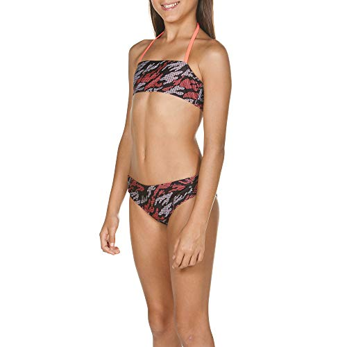 ARENA Mädchen Bandeau Bikini Fantasy, Black-Shiny pink, 164