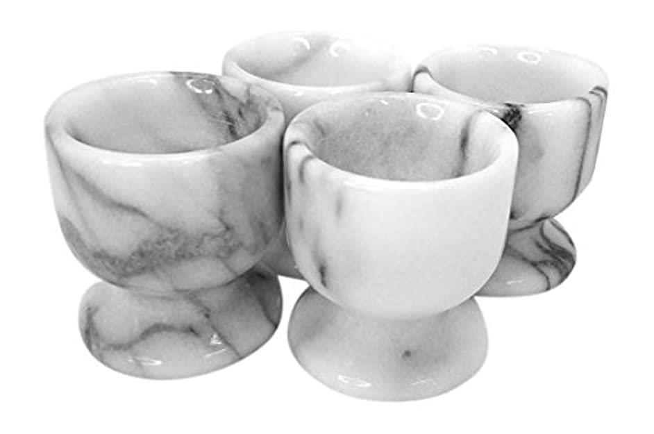 Creative Home Natural White Marble Egg Cup, Set of 4