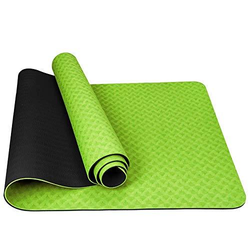 Zoueroih Tappetino da Yoga Antiscivolo Yoga Mat TPE di Protezione dell'ambiente Sport Mat 6 mm di Spessore ad Alta densità Leggera Pilates Mat Adatto a Pavimento Esercizio Fitness e Hot Yoga 185x65cm