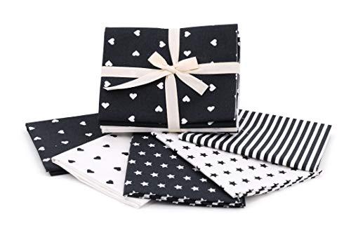 Kit de tela de algodón con fantasías a juego, 5 grandes piezas de 50 x 45 cm, rayas + estrella + corazón a juego, tejido para patchwork, fabricado en Italia, Oeko-Tex (negro)