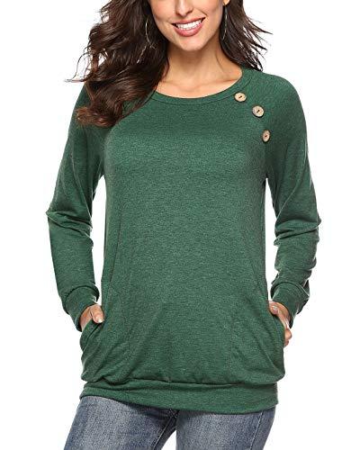 Martiount Camiseta de Manga Larga para Mujer con Bolsillo Botón Design Blusa Camisa Cuello Redondo Basica Camiseta Tops Otoño Casual T-Shirt Green XXL