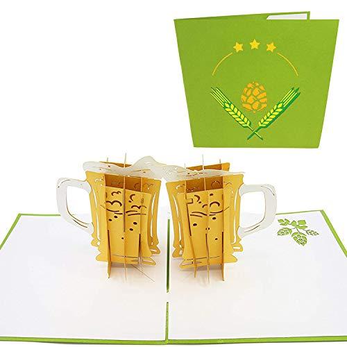 PopLife Handwerk Bier 3D Pop Up Karte für alle Anlässe - Glücklicher Jahrestag Pop Up Karte zum Vatertag, Valentinstagskarte für Männer, Pensionierungskarte - für Papa, Ehemann, Sohn, Opa