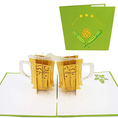 PopLife Craft Beer Cheers 3D Pop Up Father's Day Card - Happy Anniversary Beer Card, Birthday Popup, Retirement Card - Greeting Card for Beer Lovers - for Boyfriend, for Father, for Son, for Dad