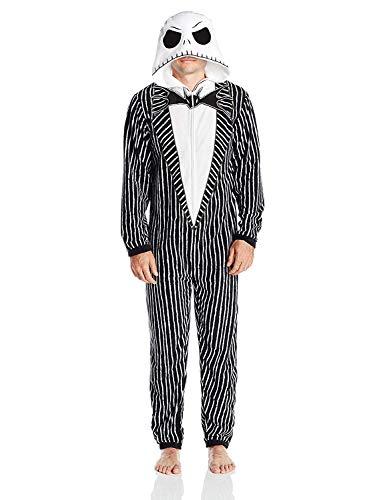 Disney Herren Jack Skellington Hooded Union Suit Pyjama Set, Nightmare Black, Medium