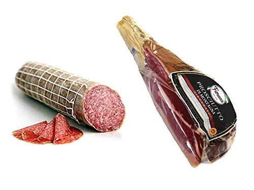Fiorucci Trancio di Prosciutto Crudo di montagna stagionatura 12 mesi 2,5 Kg Circa +Salame Milano, c.a. 1 kg