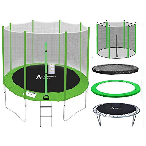 ULTRAPOWER SPORTS Trampolino, 244cm verde Tappeto Elastico per Giardino con Scaletta, Rete di Sicurezza, Pali Diritti Ricoperti, Test di Sicurezza TÜV Rheinland