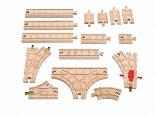 Mattel Fisher-Price Y4088 - Thomas und seine Freunde Erweiterungsschienen-Set aus Holz, 15-teilig