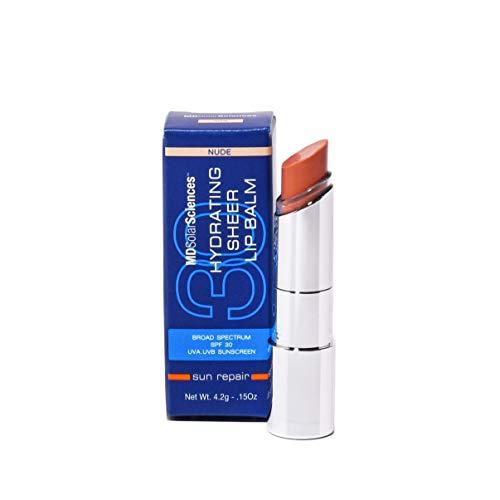 MDSolarSciences Hydrating Sheer tinted Nude Lip Balm SPF 30, with avocado oil, vegan, Nude, 1 oz.