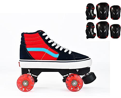 VARADOMO Patines de Lona Quad Roller Botas de Lona Altas 4 Ruedas Iluminación Equipo de protección de cortesía para Principiantes,Rojo,EU40