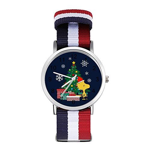 Woodstock Around The Christmas Tree Peanuts Freizeit-Armbanduhr, geflochtene Uhr mit Skala