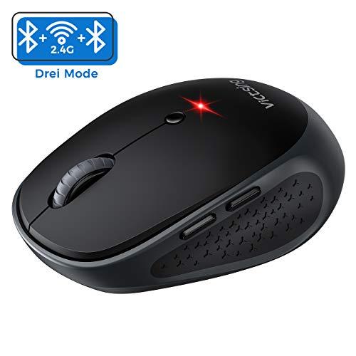 VicTsing Bluetooth Maus Multi-Device Silent Funkmaus für Windows/Mac OS/Android, Laptop Maus kabellose Maus klein mit 6 Tasten, 800/1200/1600/2000/2400 DPI, 12 Monate Akkulaufzeit (DREI-Mode)