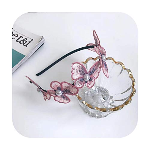 1PC Preciosa mariposa hadas diademas perlas bordadas malla diademas para mujeres niñas accesorios para el cabello exquisitos aros para el pelo de la señora púrpura