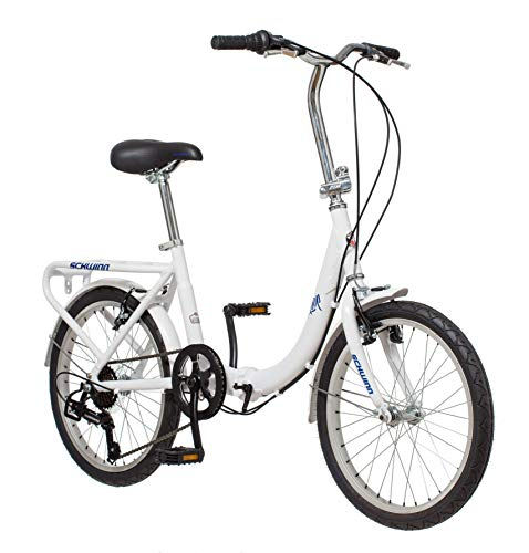 Schwinn Loop Adult Folding Bike, 20-inch Wheels, 7-Speed Drivetrain, Rear Carry Rack, Carrying Bag, White