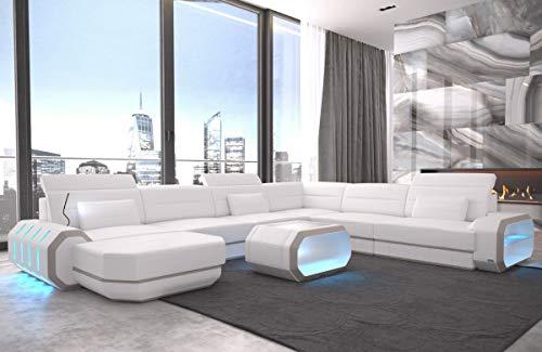 Sofa Dreams XXL Wohnlandschaft Roma Weiss-beige