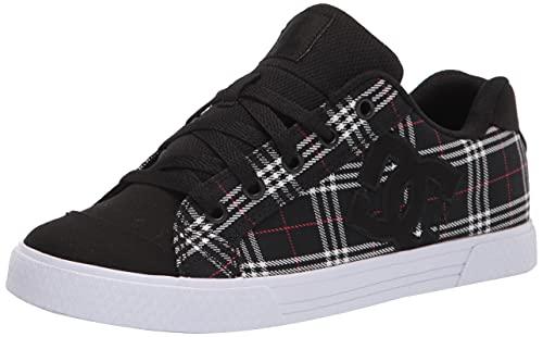 DC Women's Chelsea Low Top Casual Skate Shoe, Black/Plaid, 8