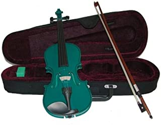 Merano MV300GR 1/2 Size Green Violin with Case and Bow+Extra Set of Strings, Extra Bridge, Rosin, Pitch Pipe, Shoulder Rest