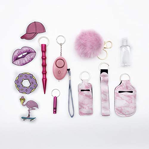 Keychains Set for Girls Safety Alarm with Flashlight Pom and Wristlet Pink product image