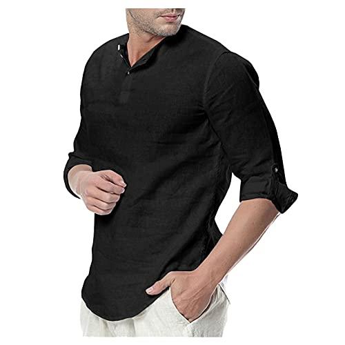 Dasongff Hemd Herren Regular Fit Shirt Sommer Herbst Regular Fit Oberteile Hemd Freizeithemd Sommerhemd Casual Leicht Unifarbe Stehkragen Shirts Hemden Henley 3/4 Ärmellänge Strandhemd