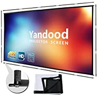 Yandood 120 Inch Foldable Silver Black Backing Portable Projector Screen