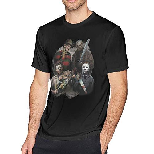 IUBBKI Camiseta básica de Manga Corta para Hombre Michael-Myers Horror Halloween Men's Short Sleeve T-Shirt Cotton