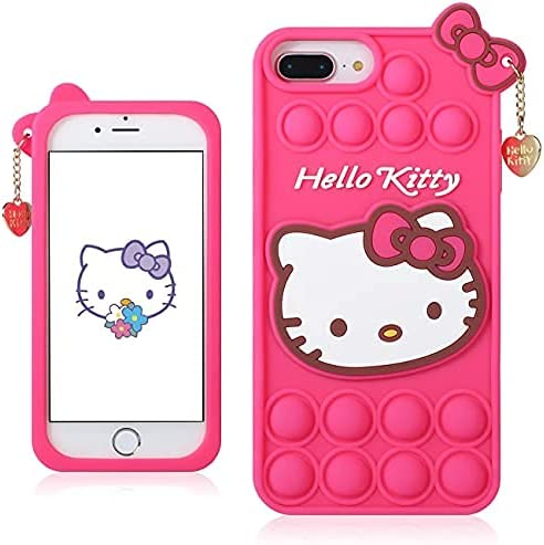 Hello Kitty iPhone 11 Pro Case-Japan Kawaii Cute 3D Cartoon Character-Unique Funny Silicone Pop Bubble Adults Fidget Toys Case Protective Cover Housing for Kids Girls Boys Teens