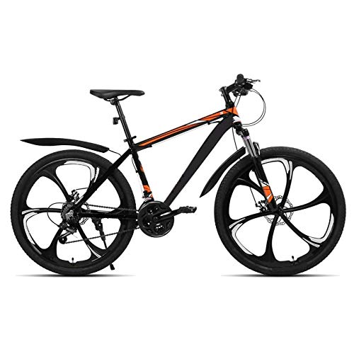 berglink 26 Inch 21 Speed Aluminum Alloy Suspension Bike, Double Disc Brake Mountain Bike Bicycle Orange 3 knife wheel