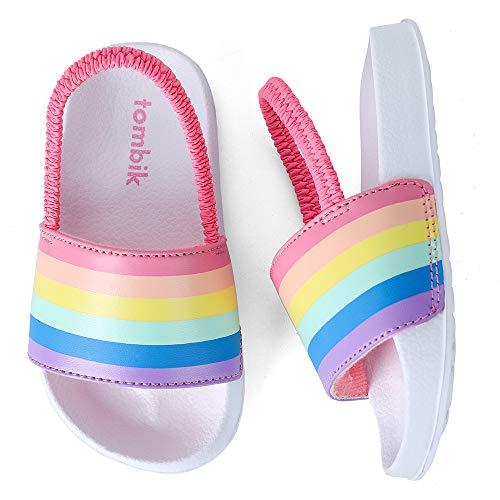 tombik Toddler Sandals Girls Summer Beach Slides Water Shoes Slipper for Swimming Pool Rainbow/White 5-6 US M Toddler