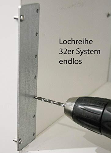 Tuneon Bohrlehre Lochreihen Bohrschablone 32 mm für Regalböden & Dübelbohrungen Stahl
