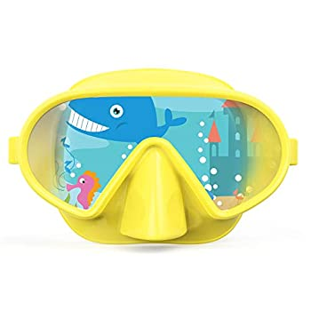 Fxexblin Kids Adults Swim Mask Swimming Goggles with Nose Cover Snorkel Scuba Diving Snorkeling Anti-Fog Lens Leakproof Skirt 180 Panoramic View Face Dive Masks for Youth Children Boys gitls