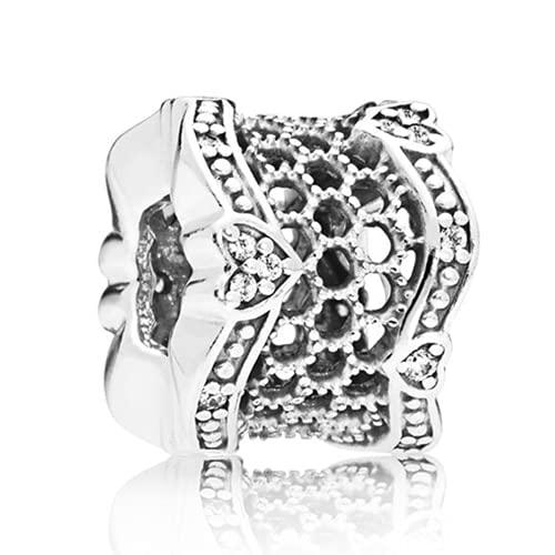 ZHANGCHEN Damska bransoletka i naszyjnik ze srebra próby 925, ażurowa perła, miłość koronka z kryształową zawieszką, odpowiednia na patelnię, majsterkowanie