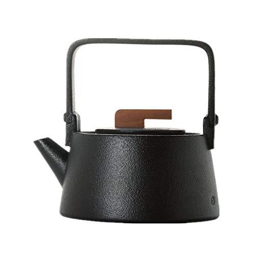 Ceramic Teapot Ceramic Teapot Stoneware Teapot Black Tea Ceramic Teaware Household Health Pot for Bulk Tea and Tea Bags for Kitchen (Color : Black, Size : 600ml)