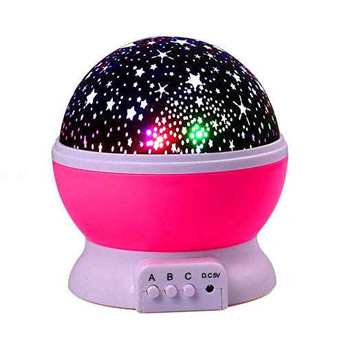 Veilleuse Ciel Étoilé Night Light Planet Magic Projector Earth Universe LED Lamp Colorful Rotate Flashing Star Kids Baby Yx03-04-P-Red