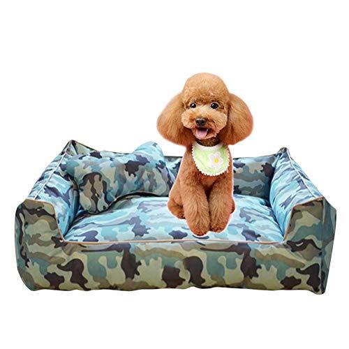 Hondenmand, mooie camouflage uitstraling waterdichte oxford stoffen kennel afneembare wasbare poedel teddy zomer huisdier kennel met kussen,Blue,M