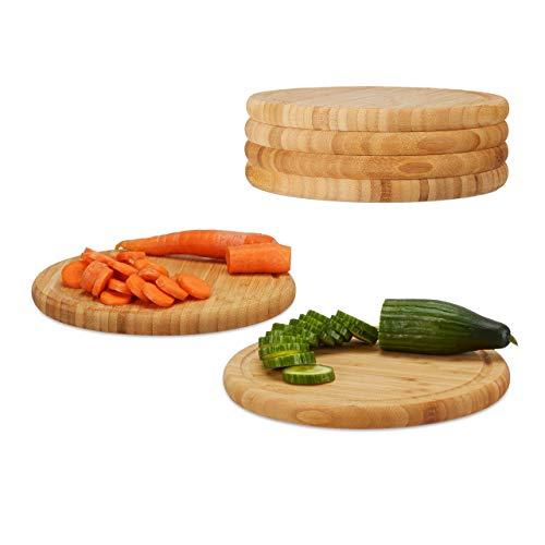 Relaxdays Frühstücksbrettchen 6er Set, Bambus, rund, 25 cm, Küchenbrett, pflegeleicht, natürlich, messerschonend, natur