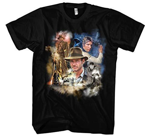 Harrison Ford Männer und Herren T-Shirt   Vintage Indiana Jones Retro Kult (L, Schwarz Druck:Bunt)