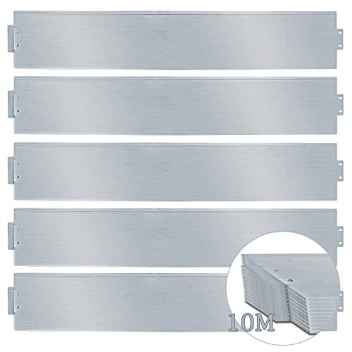 wolketon Rasenkante 10m 100x18cm Metall Beetumrandung verzinkt Mähkante Beeteinfassung - Länge 10m Höhe 18cm Palisade