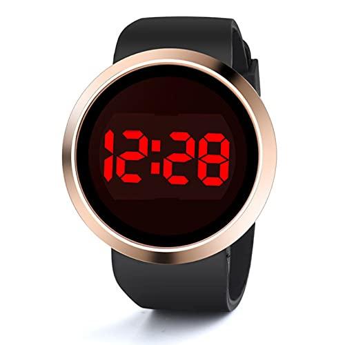 Msltely Reloj digital de lujo con pantalla táctil electrónica, para hombre, mujer, deporte, hombre, mujer, (color: negro)