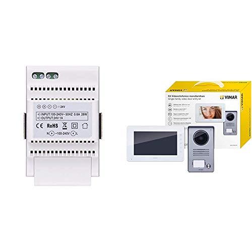 Vimar 40103 Alimentatore per Videocitofono, Installazione su Guida DIN (60715 Th35), 3 Moduli, Bianco & K40910 Kit Videocitofono Monofamiliare da Parete, Grigio la Targa e Bianco Il Monitor